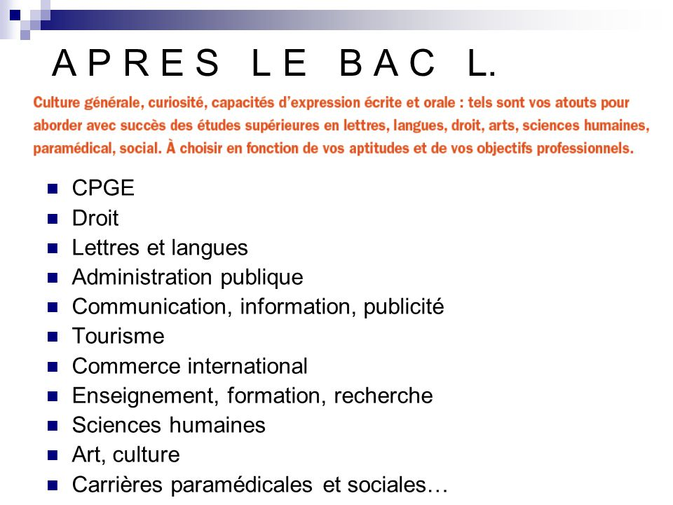 A P R E S L E B A C L. CPGE Droit Lettres et langues