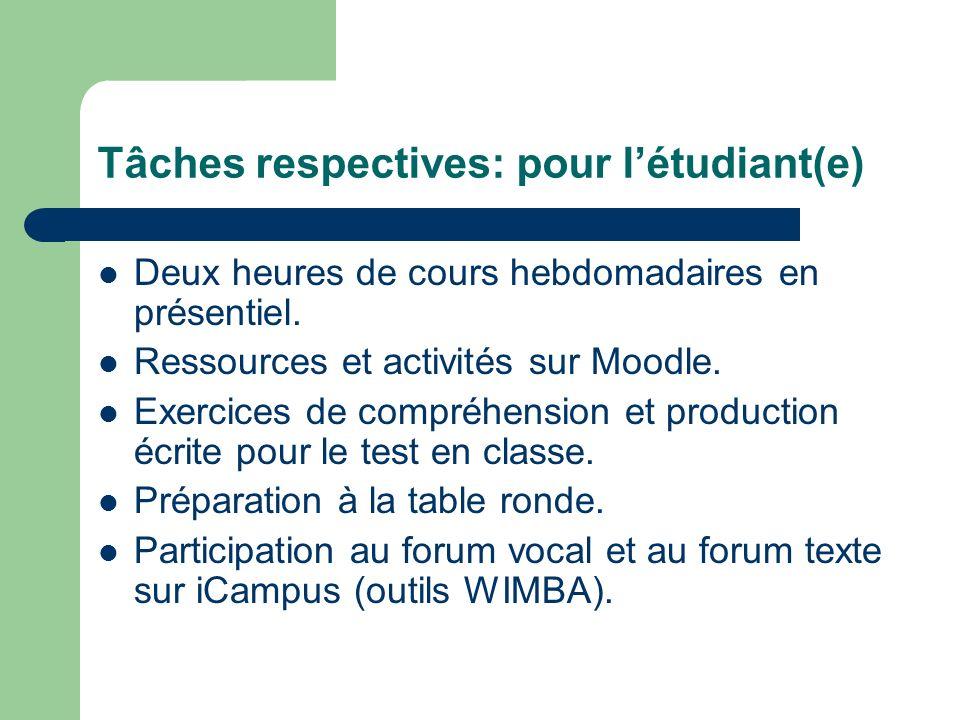 Tâches respectives: pour l'étudiant(e)