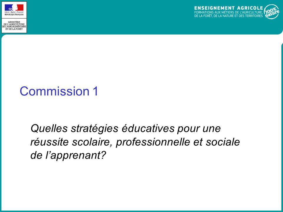 Commission 1 Quelles stratégies éducatives pour une réussite scolaire, professionnelle et sociale de l'apprenant