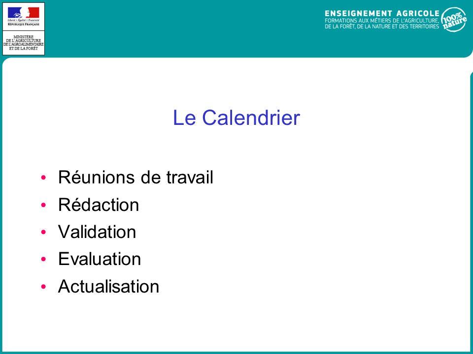 Le Calendrier Réunions de travail Rédaction Validation Evaluation
