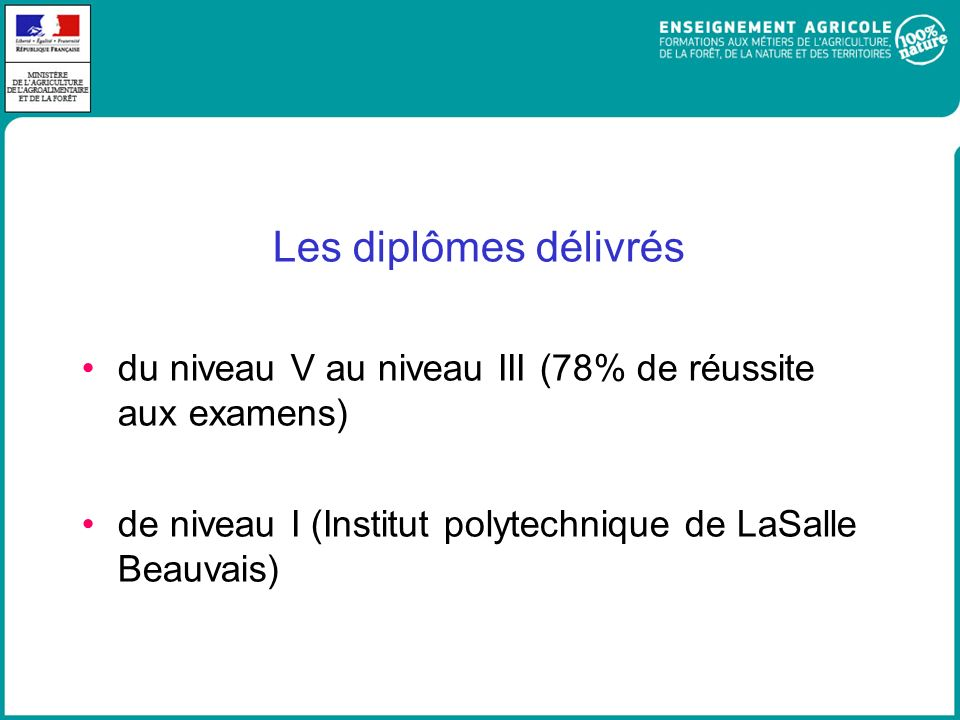Les diplômes délivrés du niveau V au niveau III (78% de réussite aux examens) de niveau I (Institut polytechnique de LaSalle Beauvais)