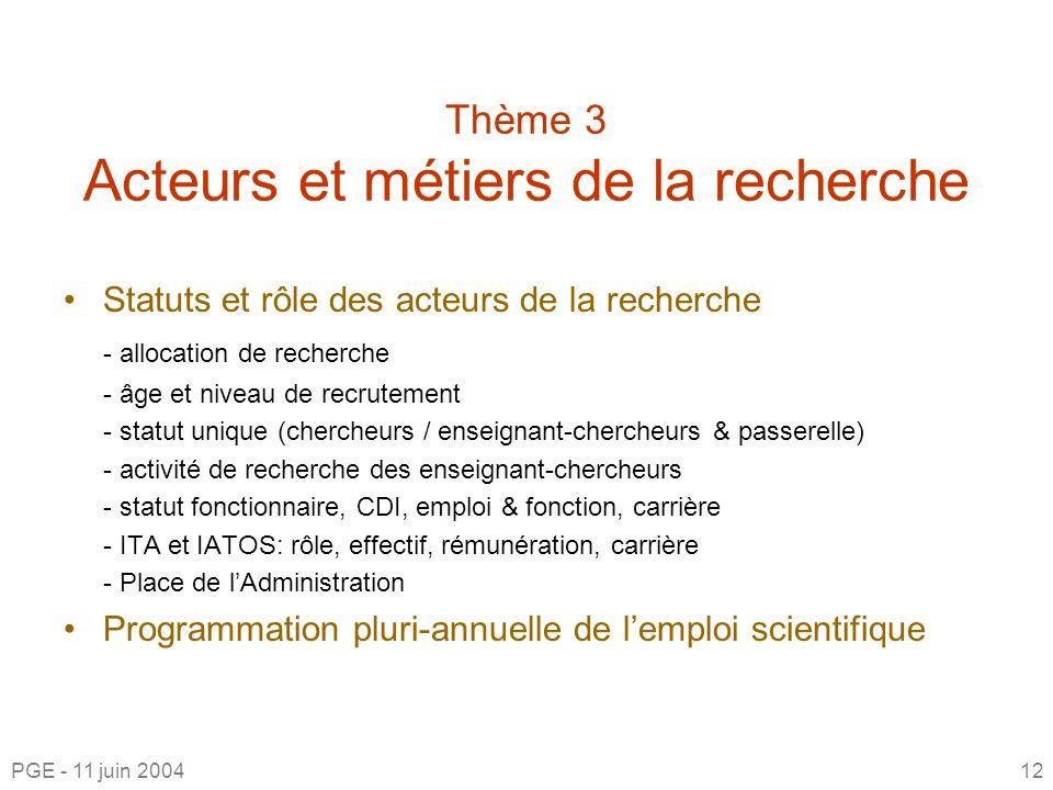 Thème 3 Acteurs et métiers de la recherche