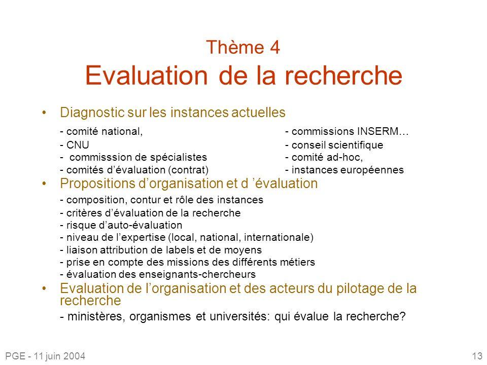 Thème 4 Evaluation de la recherche