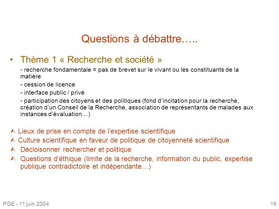 Questions à débattre….. Thème 1 « Recherche et société »