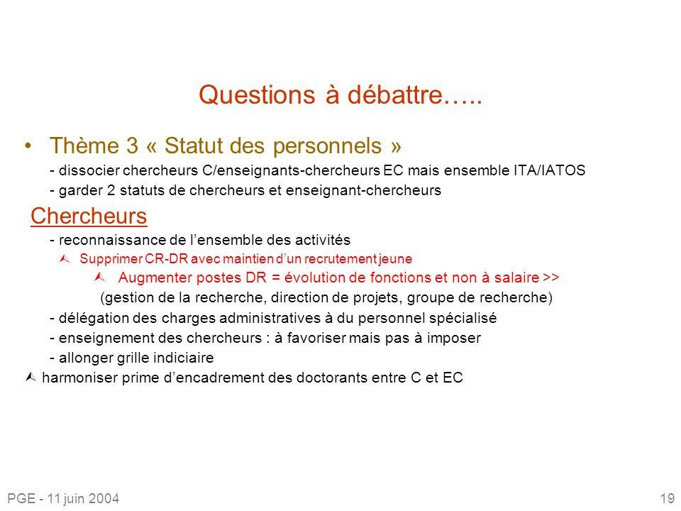 Questions à débattre….. Thème 3 « Statut des personnels » Chercheurs