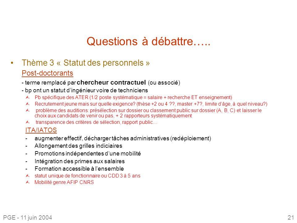 Questions à débattre….. Thème 3 « Statut des personnels » ITA/IATOS