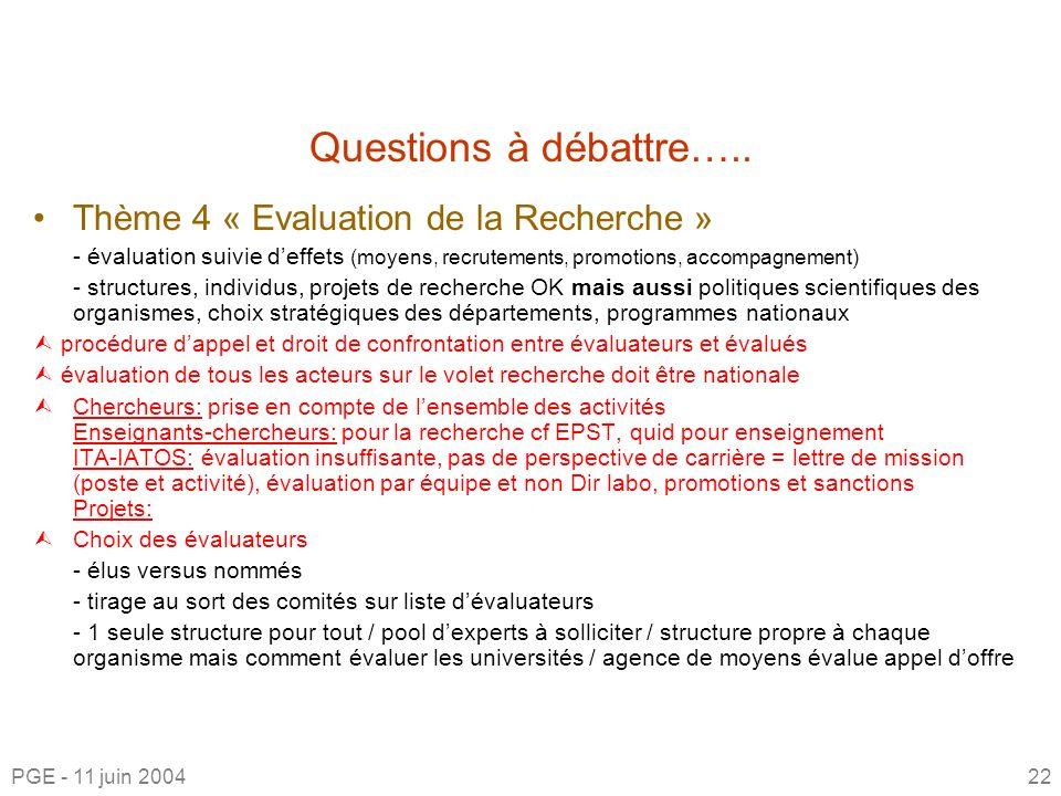 Questions à débattre….. Thème 4 « Evaluation de la Recherche »