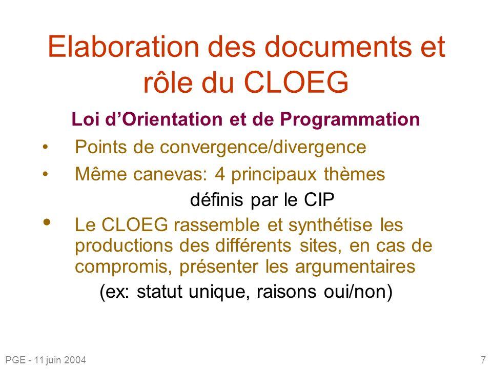 Elaboration des documents et rôle du CLOEG