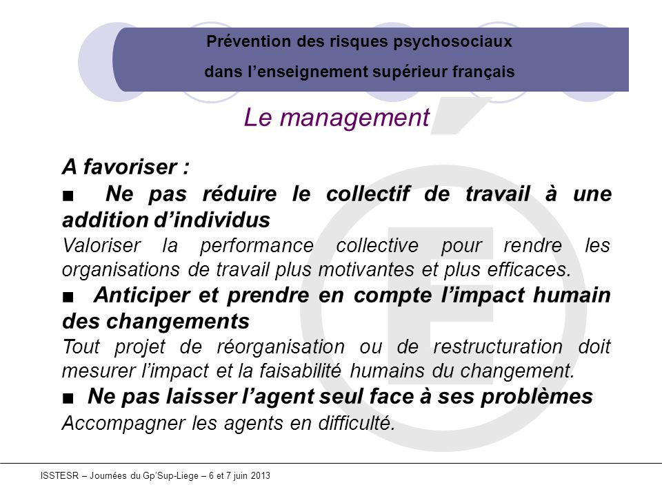 Le management A favoriser :