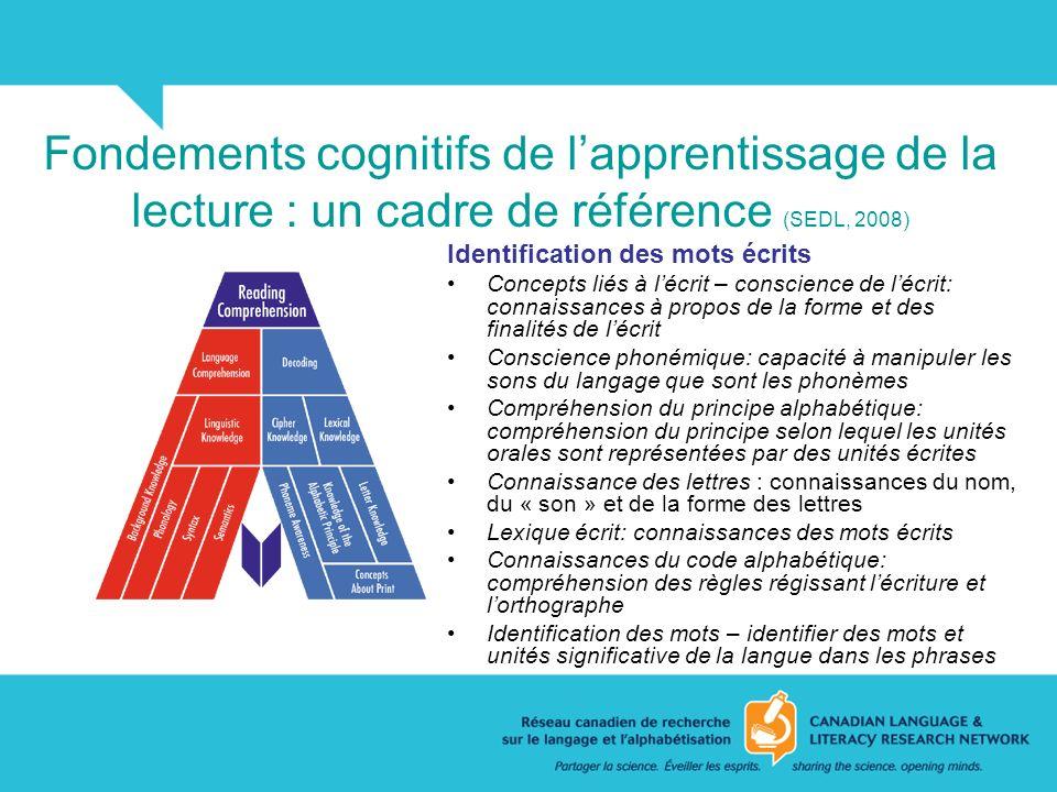 Fondements cognitifs de l'apprentissage de la lecture : un cadre de référence (SEDL, 2008)