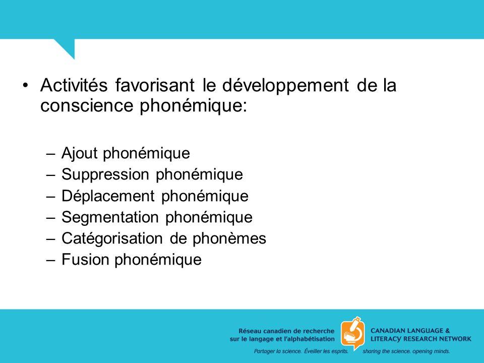 Activités favorisant le développement de la conscience phonémique:
