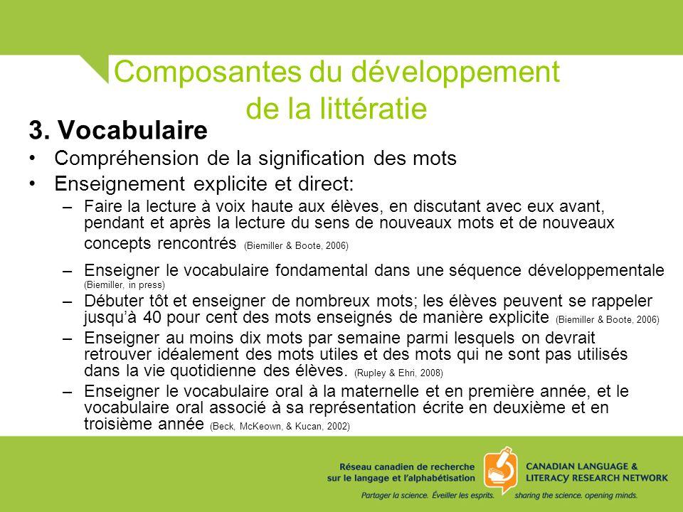 Composantes du développement de la littératie