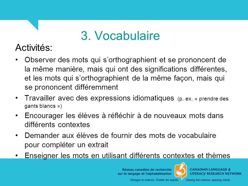 3. Vocabulaire Activités: