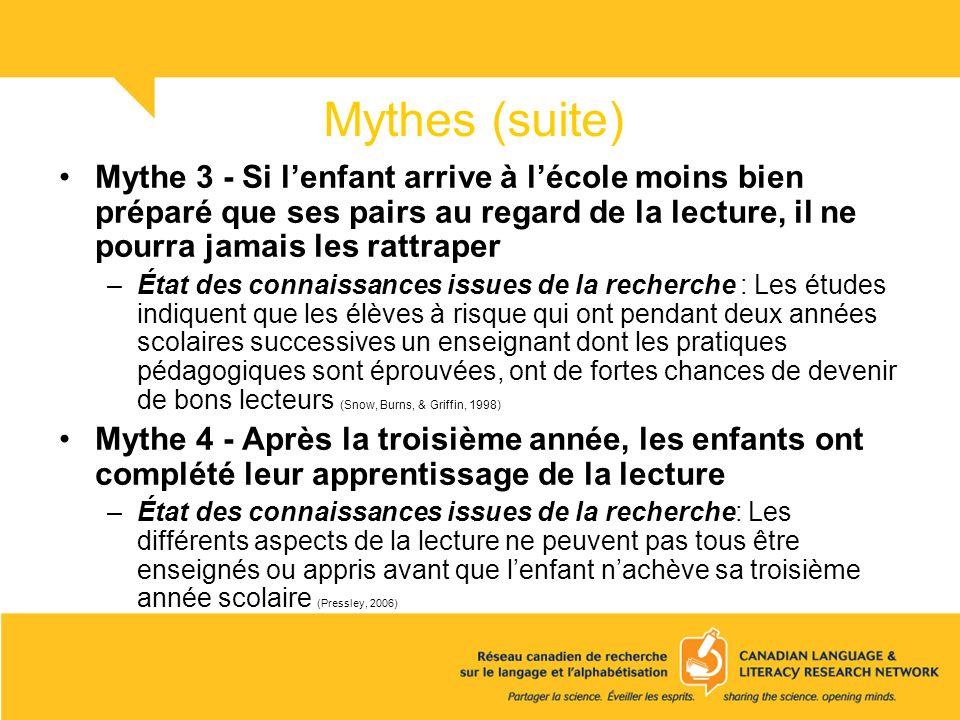 Mythes (suite) Mythe 3 - Si l'enfant arrive à l'école moins bien préparé que ses pairs au regard de la lecture, il ne pourra jamais les rattraper.
