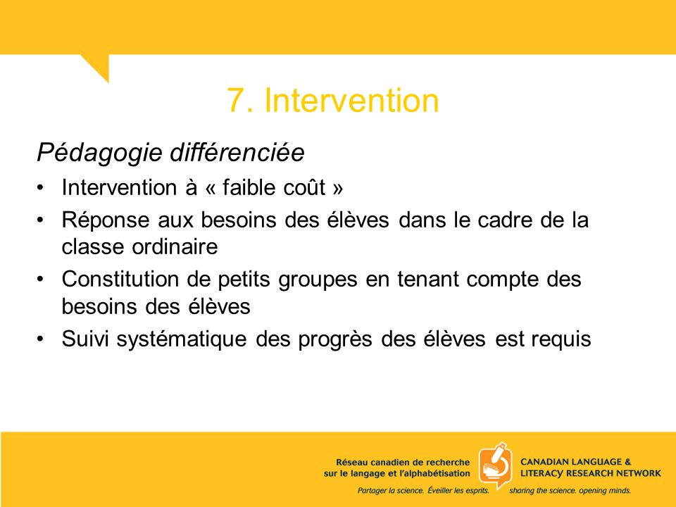 7. Intervention Pédagogie différenciée Intervention à « faible coût »