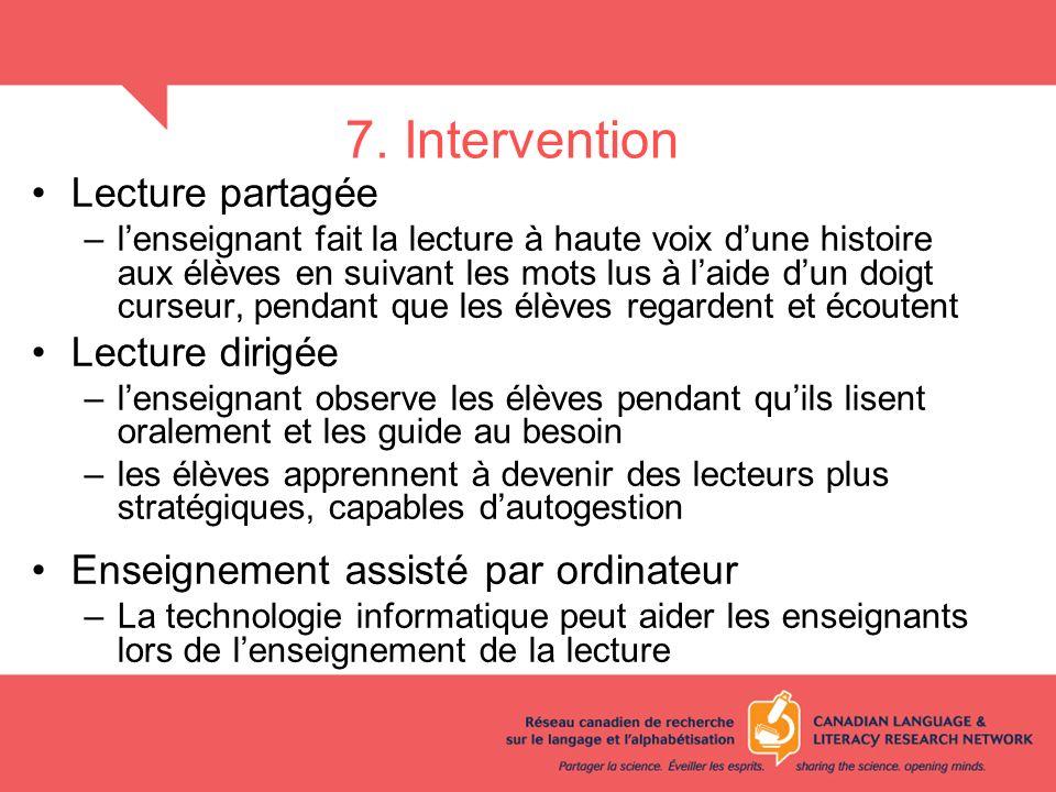 7. Intervention Lecture partagée Lecture dirigée