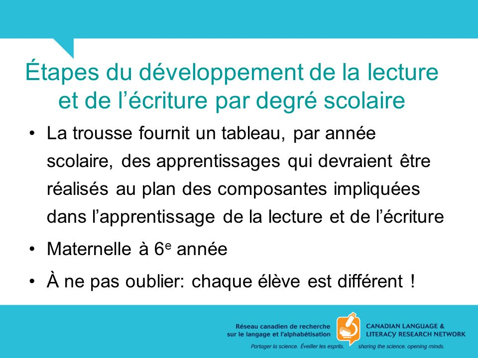 Étapes du développement de la lecture et de l'écriture par degré scolaire