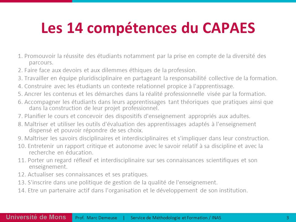 Les 14 compétences du CAPAES