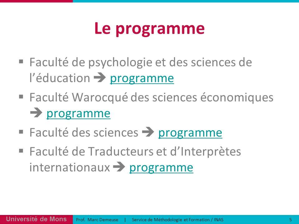Le programme Faculté de psychologie et des sciences de l'éducation  programme. Faculté Warocqué des sciences économiques  programme.