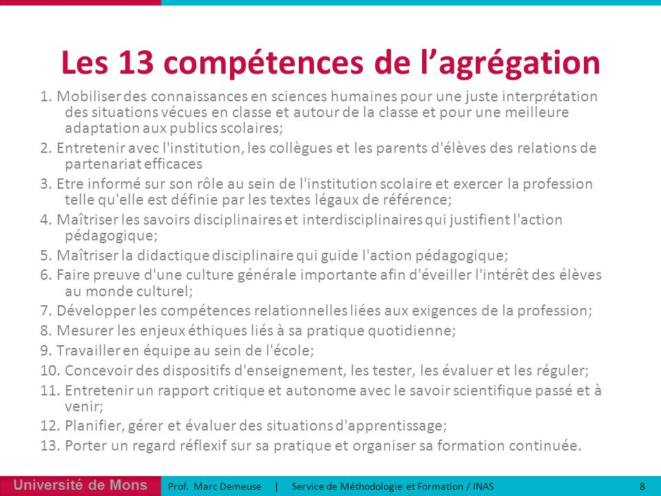 Les 13 compétences de l'agrégation