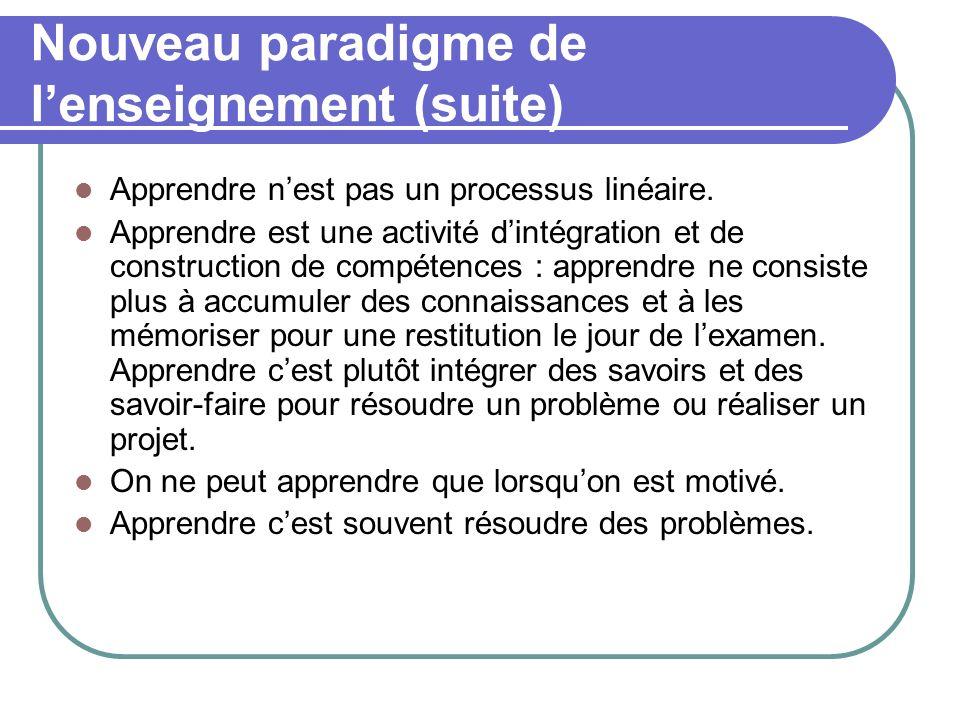 Nouveau paradigme de l'enseignement (suite)