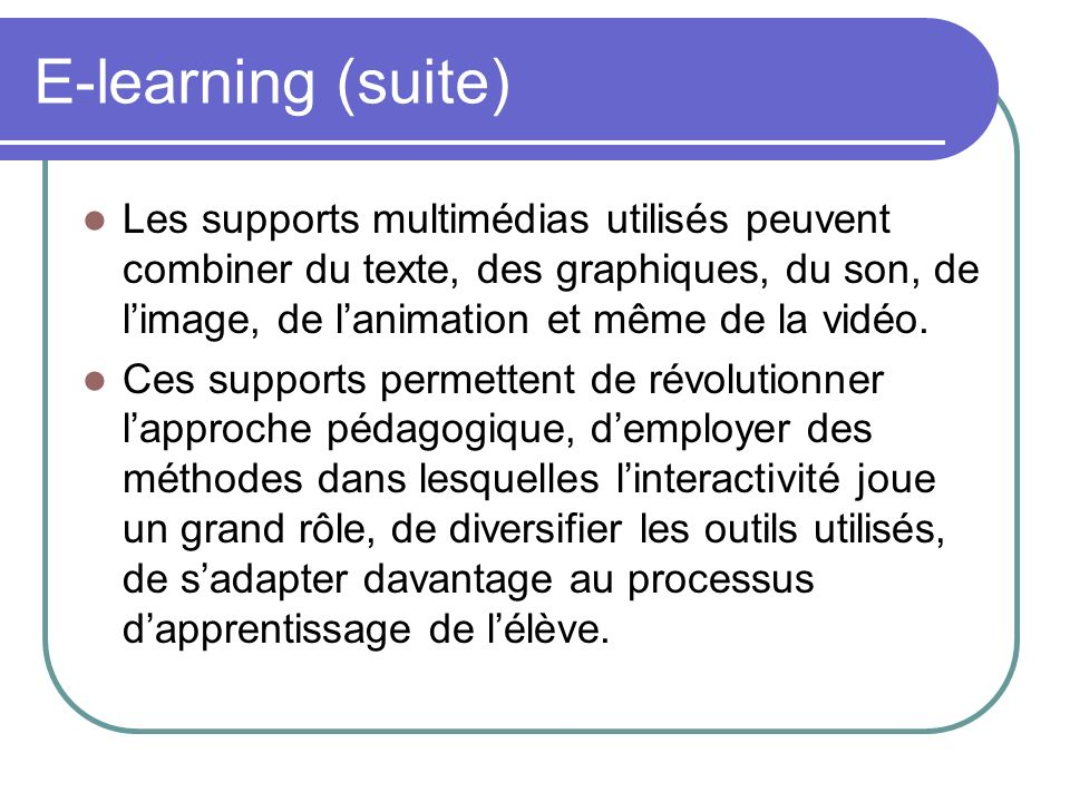 E-learning (suite)