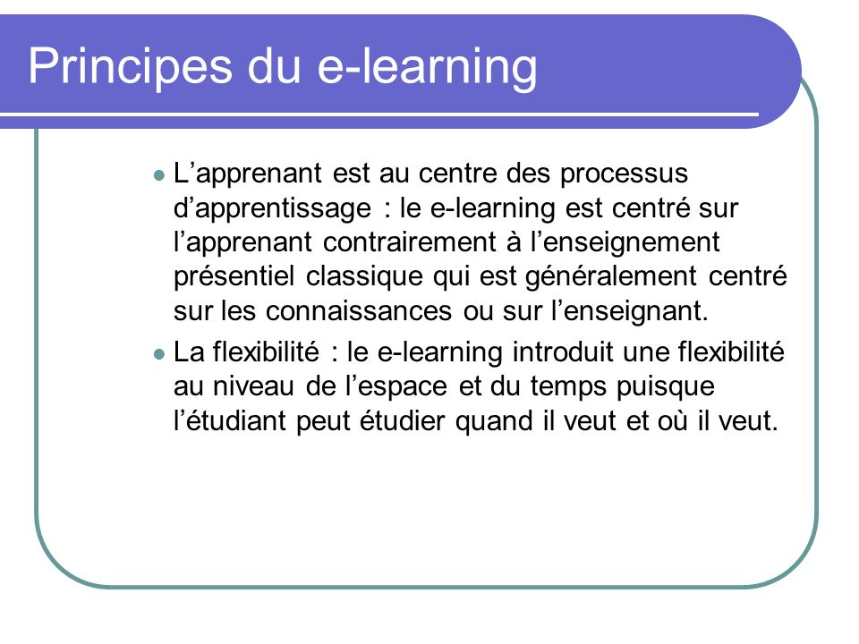 Principes du e-learning