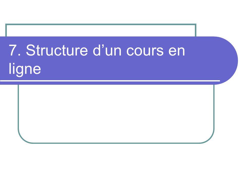 7. Structure d'un cours en ligne