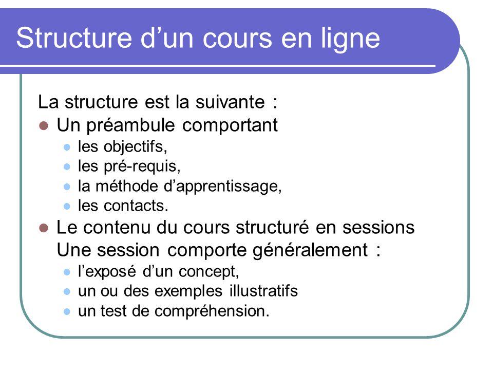 Structure d'un cours en ligne