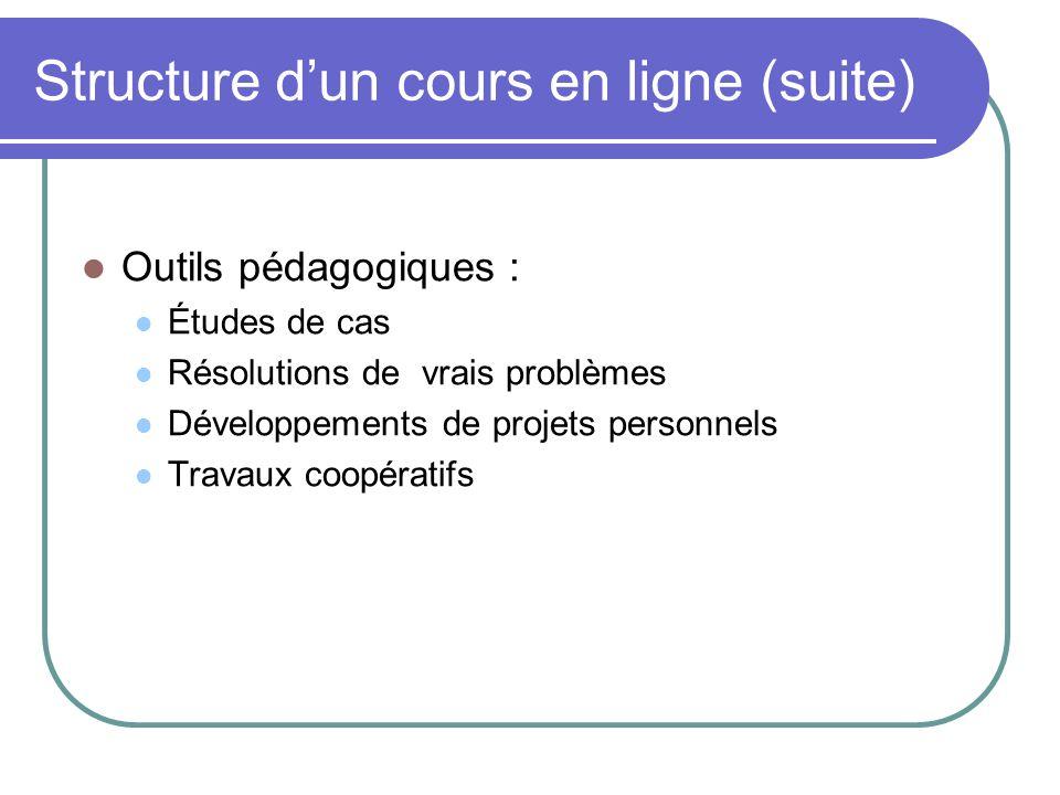 Structure d'un cours en ligne (suite)
