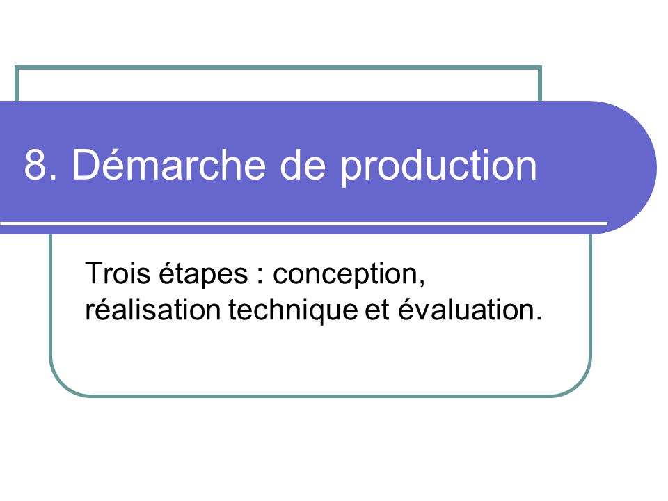 8. Démarche de production
