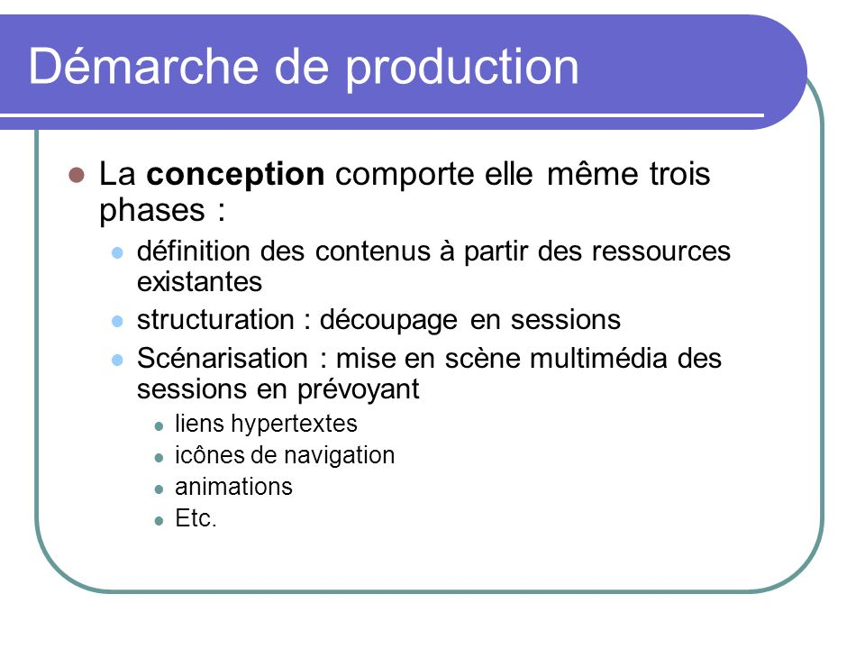 Démarche de production