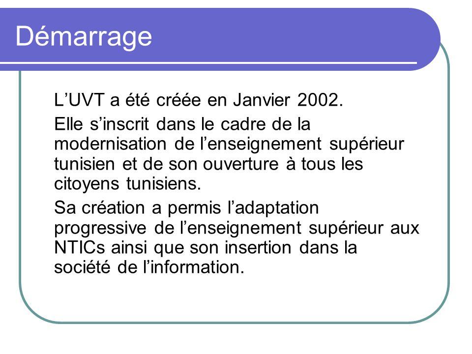 Démarrage L'UVT a été créée en Janvier 2002.