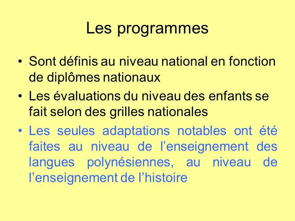 Les programmes Sont définis au niveau national en fonction de diplômes nationaux.