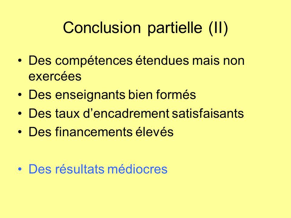 Conclusion partielle (II)