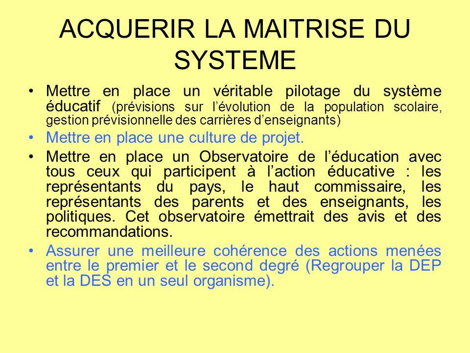 ACQUERIR LA MAITRISE DU SYSTEME