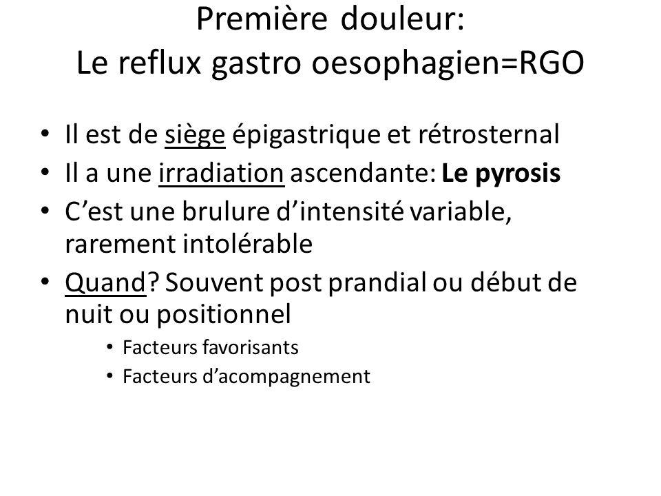 Première douleur: Le reflux gastro oesophagien=RGO
