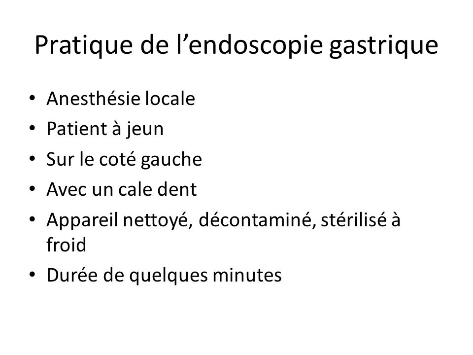 Pratique de l'endoscopie gastrique