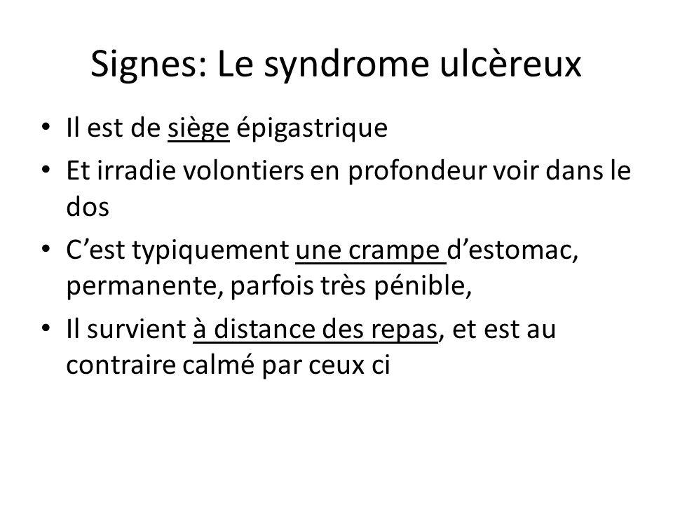 Signes: Le syndrome ulcèreux
