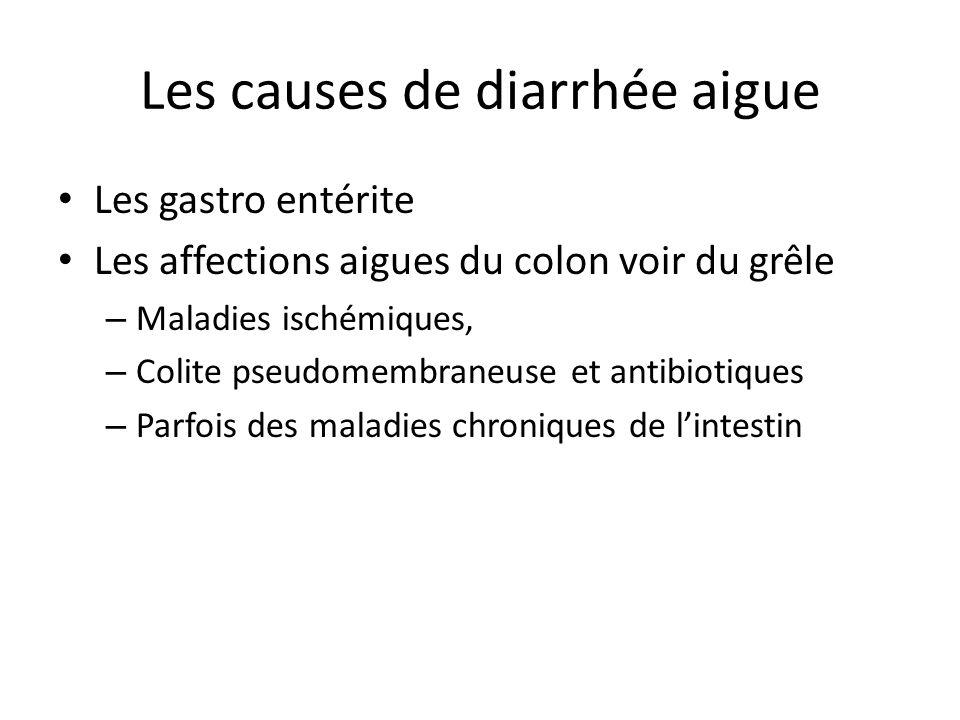 Les causes de diarrhée aigue