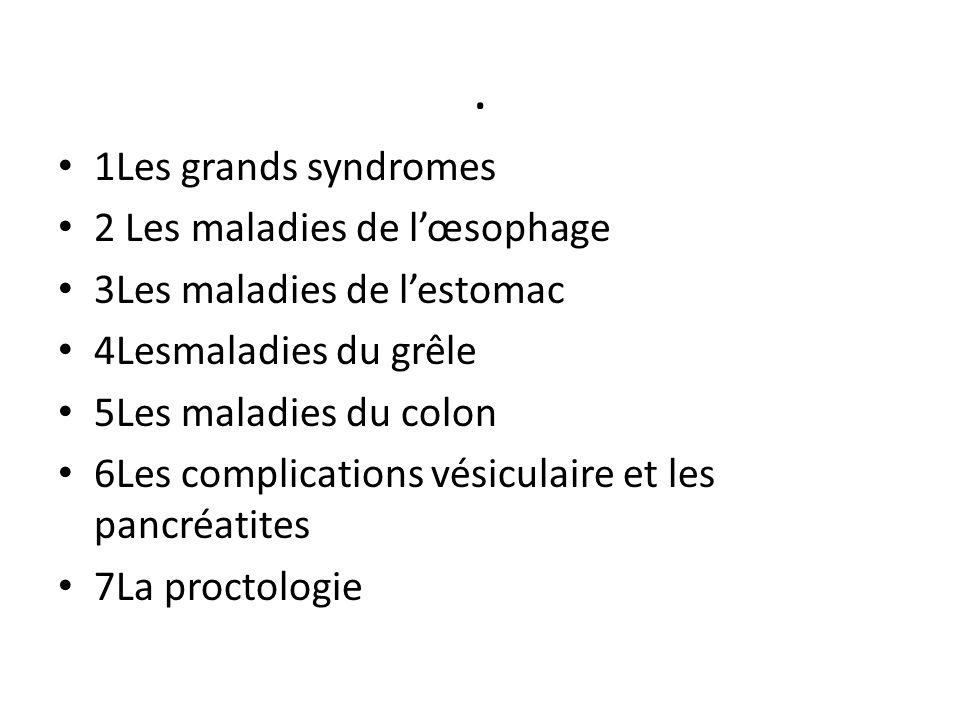 . 1Les grands syndromes 2 Les maladies de l'œsophage