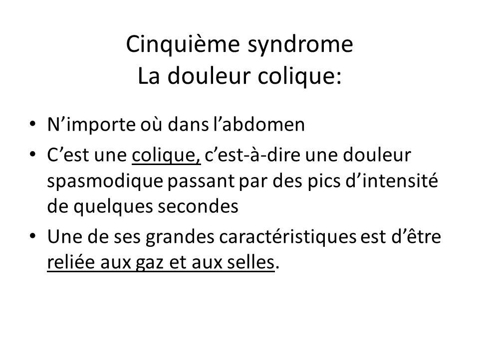 Cinquième syndrome La douleur colique: