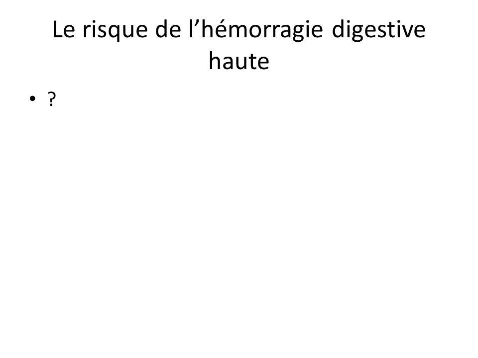 Le risque de l'hémorragie digestive haute