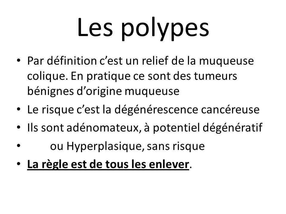 Les polypes Par définition c'est un relief de la muqueuse colique. En pratique ce sont des tumeurs bénignes d'origine muqueuse.