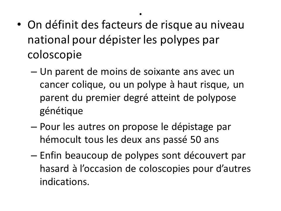 . On définit des facteurs de risque au niveau national pour dépister les polypes par coloscopie.