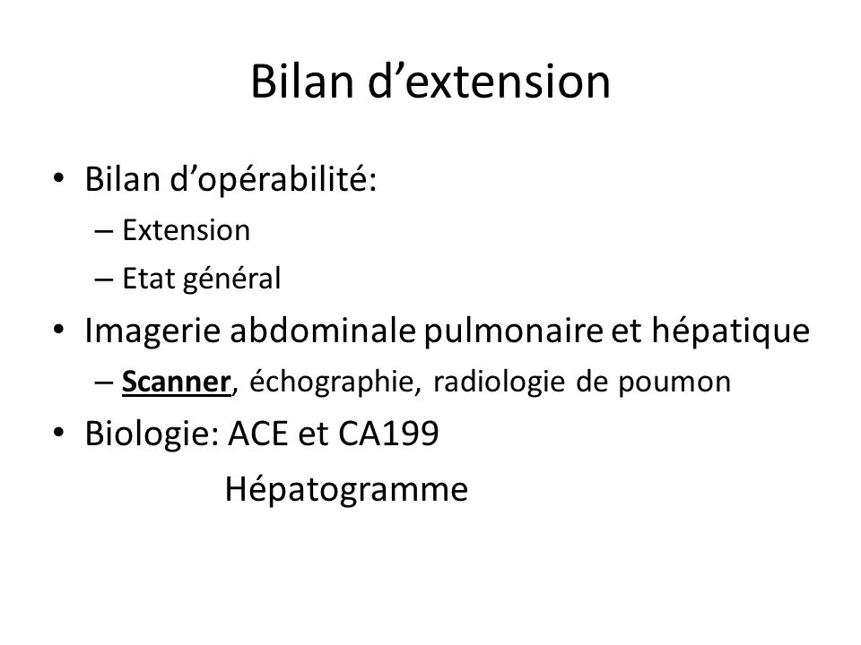 Bilan d'extension Bilan d'opérabilité: