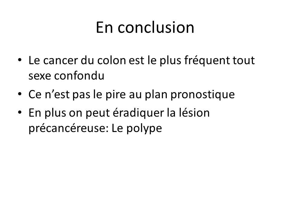 En conclusion Le cancer du colon est le plus fréquent tout sexe confondu. Ce n'est pas le pire au plan pronostique.