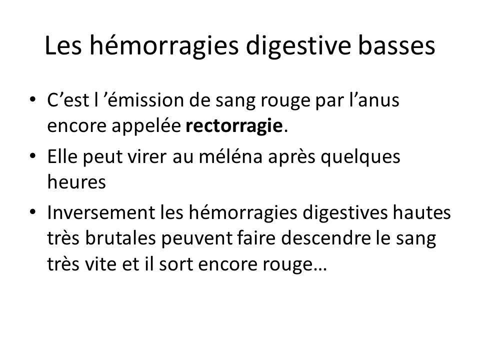 Les hémorragies digestive basses