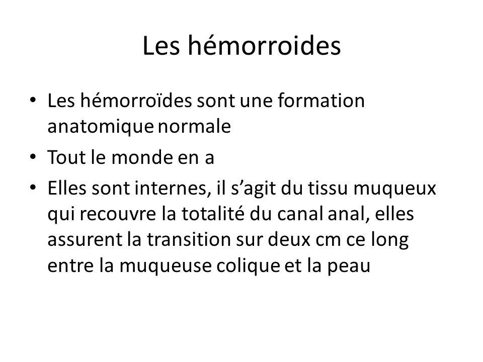 Les hémorroides Les hémorroïdes sont une formation anatomique normale