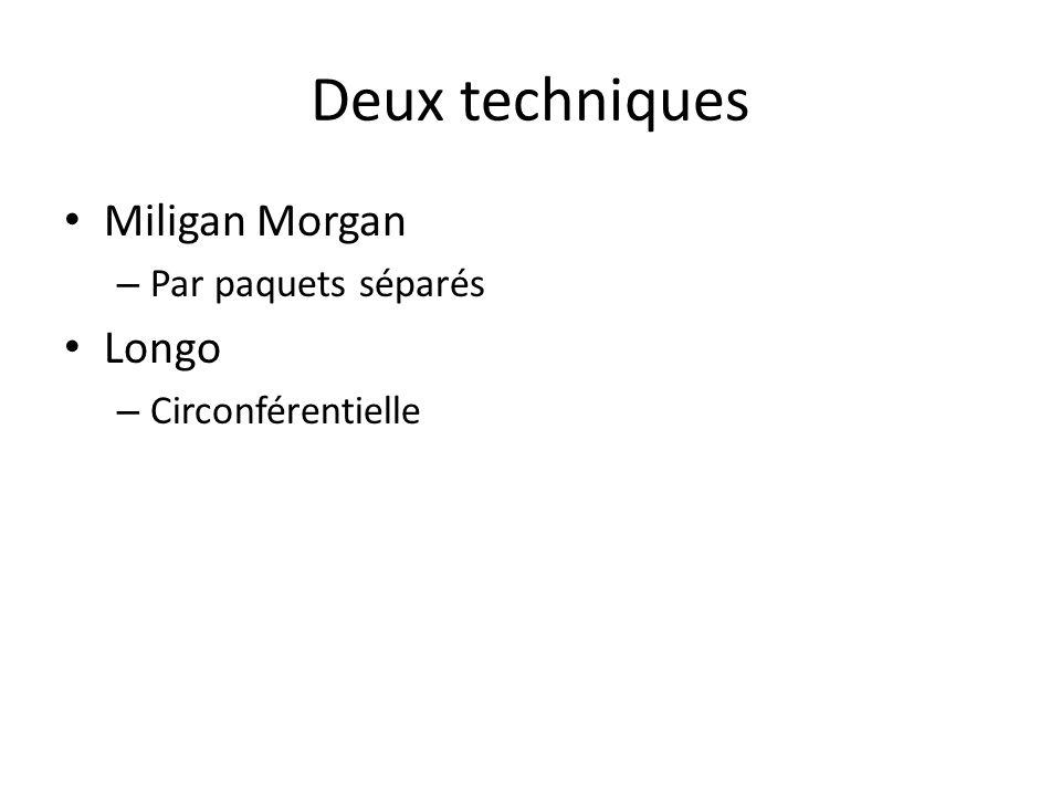 Deux techniques Miligan Morgan Longo Par paquets séparés